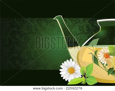 Glass teapot. Raster version of vector illustration.