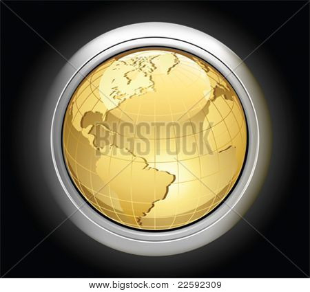 Gold globe.  All elements and textures are individual objects. Vector illustration scale to any size.