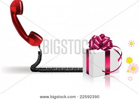 Old phone with present. All elements and textures are individual objects. Vector illustration scale to any size.