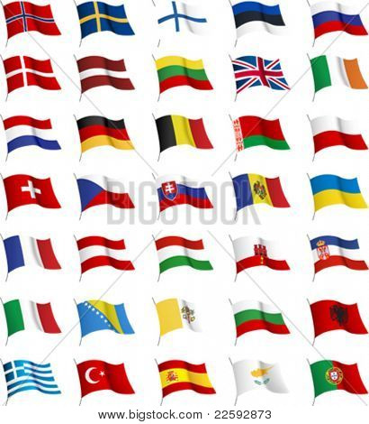 All European flags. All elements and textures are individual objects. Vector illustration scale to any size.