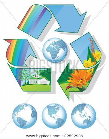 Recycling World. All elements and textures are individual objects. Vector illustration scale to any size.