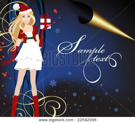 Santa dressed girl with present. All elements and textures are individual objects. Vector illustration scale to any size.