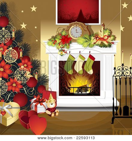 Christmas room with fireplace and presents under tree. Raster version of vector illustration.