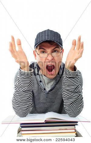 Educational theme: shouting student with books. Isolated over white background.