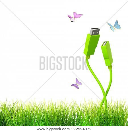 Conceptual image - green technology. 3d