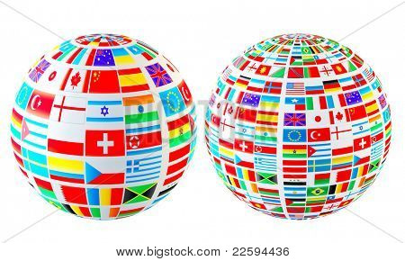 Set- world flags spheres. Isolated over white