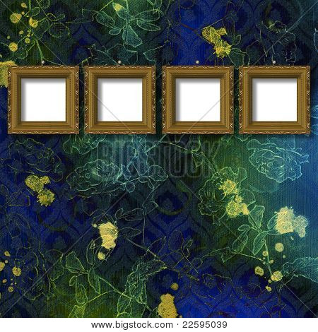 Old Wooden Frame For Photo On The Abstract Paper Background