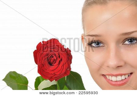 Pretty face with a red rose