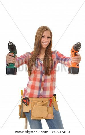 Woman with two self-drilling screws