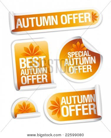 Best autumn offers stickers set.