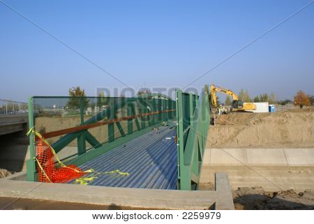 Workmen Construct Abutments