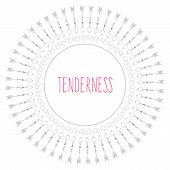 A Circular Pattern Of Elements That Symbolize Valentines Day, With The Inscription Tenderness poster