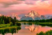 Grand Teton Mountains from Oxbow Bend on the Snake River at sunrise. Grand Teton National Park, Wyom poster