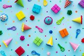 Birthday party background with party hats and birthday gifts poster