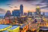 Austin, Texas, USA downtown cityscape at dusk. poster