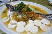 Patin Silver Catfish Steamed With Chinese Style Soya Sauce And Ginger. Famous Food In South East Asi poster