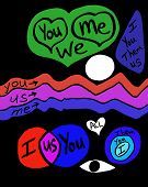 Various Words, Shapes And Colors Showing Abstract Representations Of Relationships. Variety Of Color poster