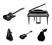 Musical Instrument Black Icons In Set Collection For Design. String And Wind Instrument Isometric Ve poster