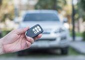 Car Valet Parking Service Business Concept With People Handling Car Key On Blur Parking Lot Backgrou poster