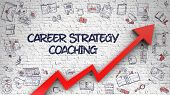 Career Strategy Coaching - Improvement Concept With Doodle Design Icons Around On The White Brickwal poster