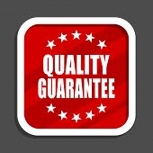 Quality guarantee icon. Flat design square internet banner. poster