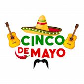 Mexican Cinco De Mayo Fiesta Party Greeting Card. Sombrero Hat, Chili Pepper And Flamenco Guitar, Ja poster