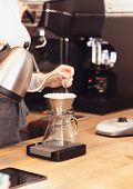 Hand Drip Coffee, Barista Pouring Water On Coffee Ground With Filter. Barista, Cafe, Making Coffee,  poster