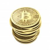 Bitcoin Pile Of Coins 3d Isometric Physical Bit Coin In Gold Digital Currency Cryptocurrency Golden  poster