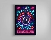 Rock N Roll Live Music. Typography, Poster In Neon Style, Neon Sign, Brochure, Flyer Design Template poster