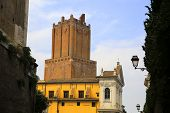 Milizie Tower, Also Known As Nerone Tower, A Medieval Tower Above The Market Of Traiano poster