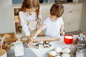 Kids Cooking Baking Cookies Kitchen Concept. Kids Cooking. poster