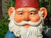 stock photo of gnome  - A close shot of a garden gnome from the front.