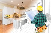 Male Contractor with Hard Hat and Plans Looking At Custom Kitchen Drawing Photo Combination On White poster