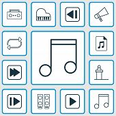 Music Icons Set With Audio File, Music, Forward Music And Other Following Music Elements. Isolated V poster
