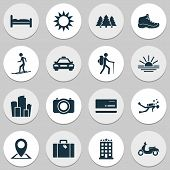 Journey Icons Set With Taxi, Hiking Boot, Diving And Other Camera Elements. Isolated Vector Illustra poster