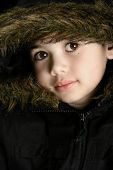 Boy In Furry Hooded Coat poster