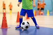 Football Futsal Training For Children. Soccer Training Dribbling Cone Drill. Indoor Soccer Young Pla poster