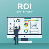 Roi Concept. Return On Investment. Roi Business Marketing. Profit Income. Businessman Managing Finan poster