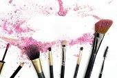 Makeup Brushes And Powder, Forming Frame For Copy Space poster