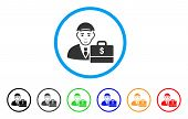 Dollar Accounter Rounded Icon. Style Is A Flat Dollar Accounter Grey Symbol Inside Light Blue Circle poster