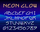 Neon Glowing Retro Game Laser Font Or A Typeset With Letters And Digits For 80s Styled Party Poster  poster