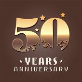 50 Years Anniversary Vector Icon, Logo. Graphic Design Element With Golden Metal Effect Numbers For  poster