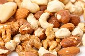 stock photo of mixed nut  - different kinds of nuts - JPG