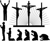 Silhouettes of the three crosses and praying man, vector illustration.