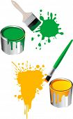 stock photo of paint brush  - Paint brushes and buckets - JPG