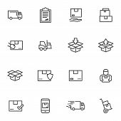 Set Order And Courier Delivery Goods Vector Icons. Vector Line Icons Transport Delivery And Logistic poster