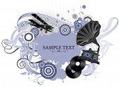 Постер, плакат: Винтажные векторные иллюстрации с Граммофон Музыкальная концепция Все элементы и текстуры отдельных