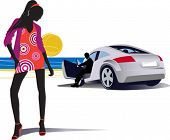 Fashion women and man in the car. All elements and textures are individual objects. Vector illustrat