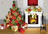 Christmas room with fireplace and presents under tree. All elements and textures are individual obje