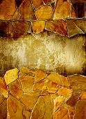 stock photo of bordure  - Grunge background with decorative natural stone and stucco wall - JPG